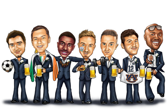Groomsmen Group Caricature