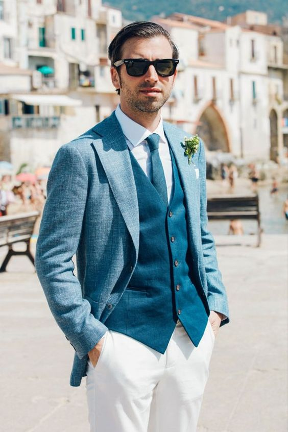 Italian Blue Suit Via Your Perfect Wedding Photographer