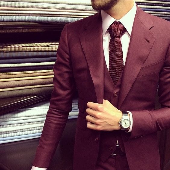 11 burgundy suits for your wedding mens wedding style for Black suit burgundy shirt