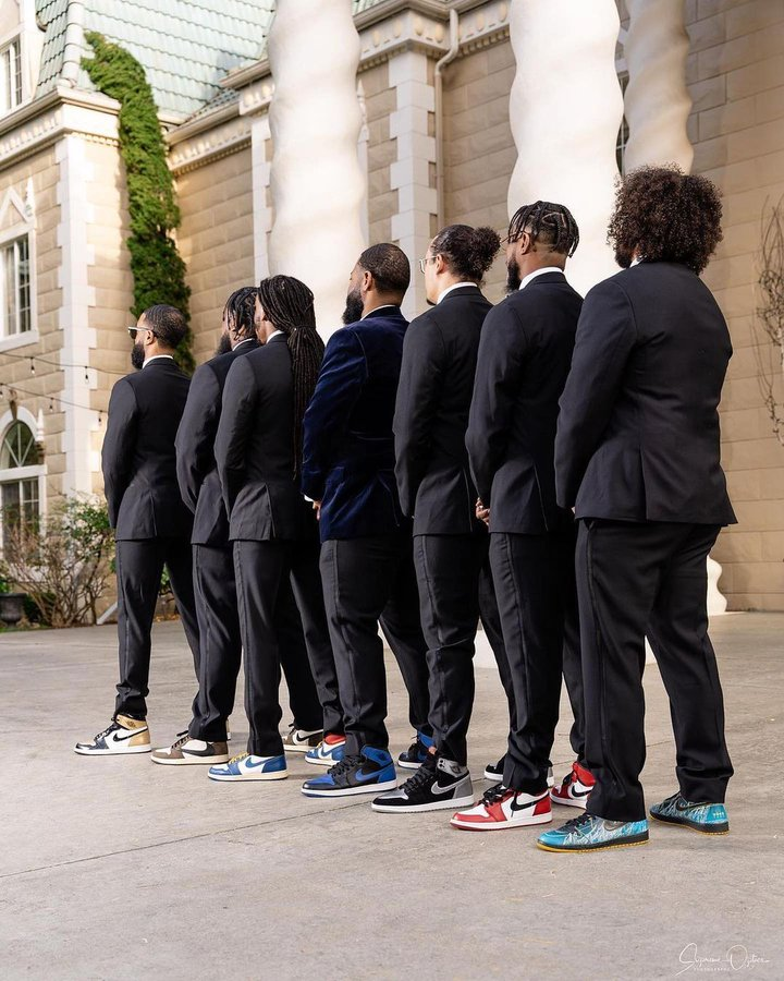 Trainers with a suit for weddings