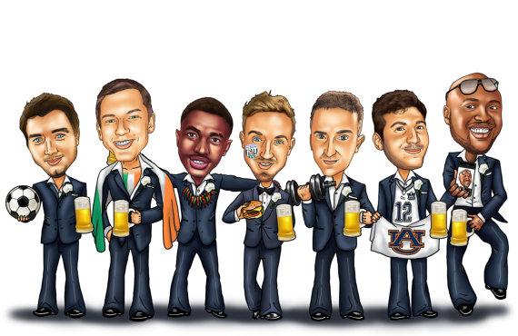 Groomsmen Group Caricature
