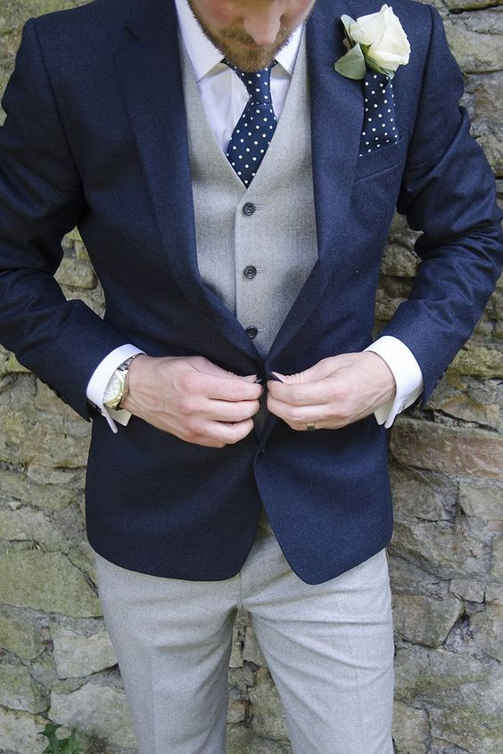 Navy and Grey Wedding suit