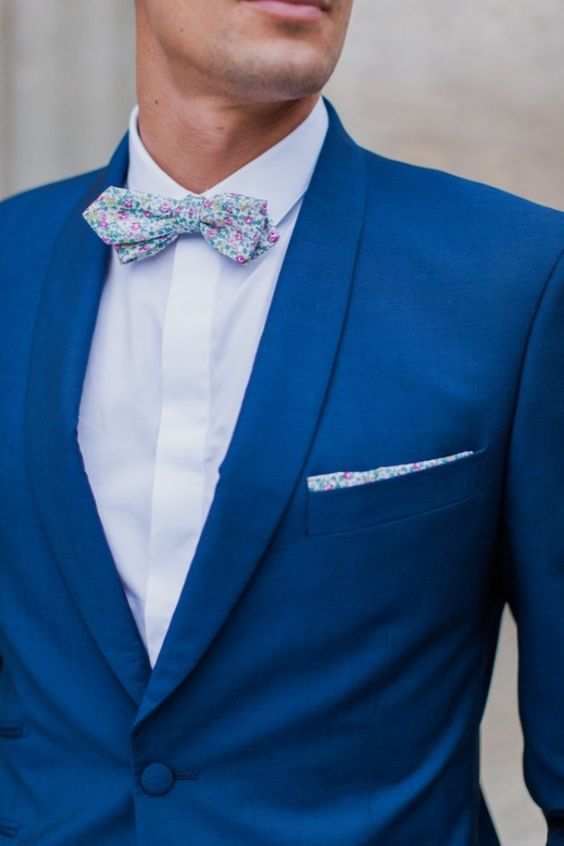 Patterned Navy Groom Suit