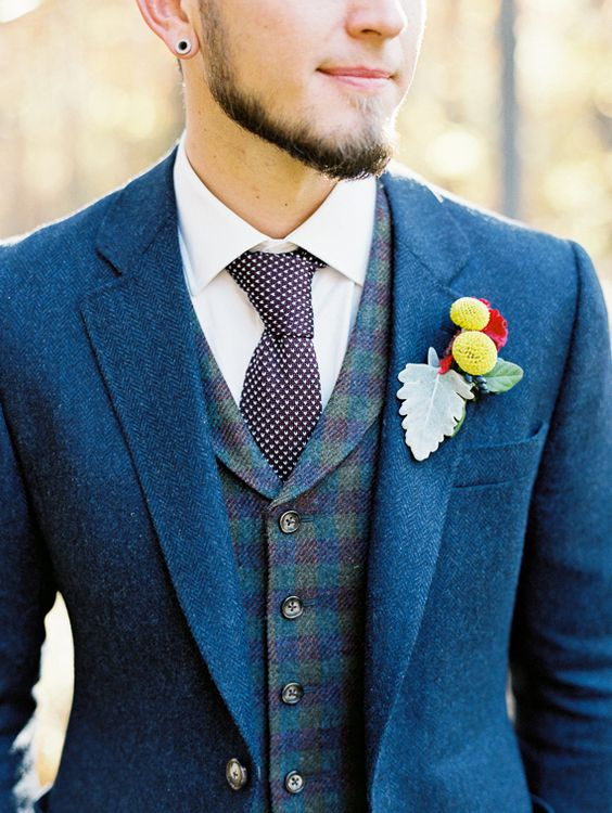Rustic wedding Blue Tweed Suit