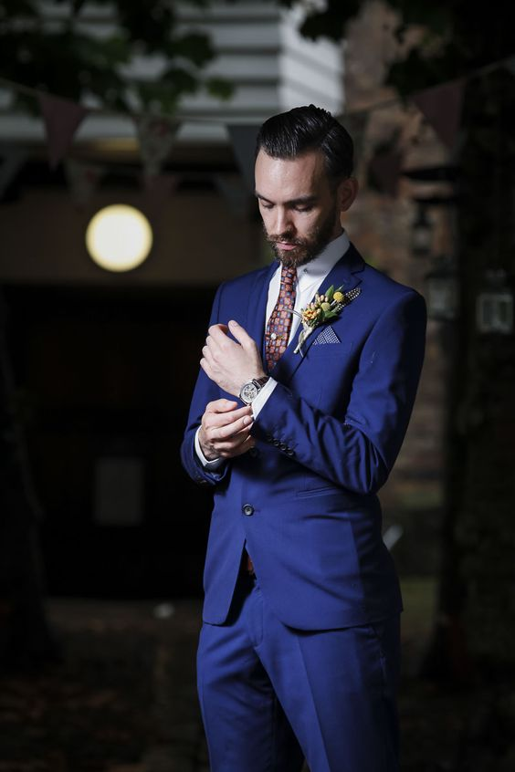 Smart Blue Groom Suit