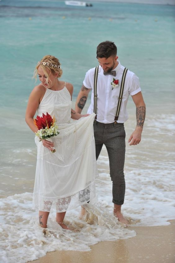 beach wedding boho groom bride