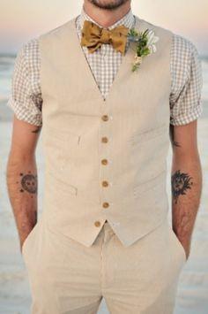 boho beach style groom
