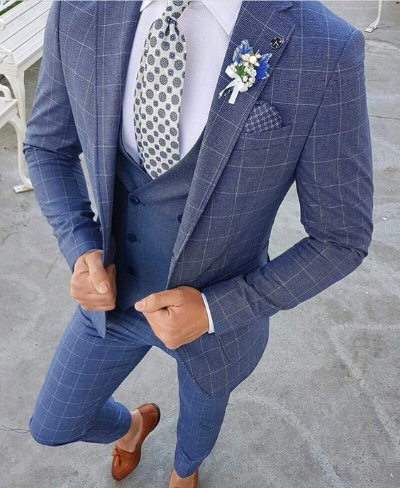 Check blue Suit