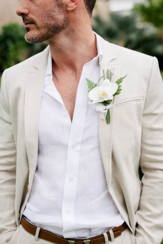 white shirt beach groom