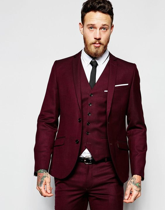 Asos Burgundy Suit Via Wedding