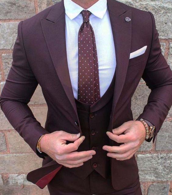 Burgundy Suit Wedding