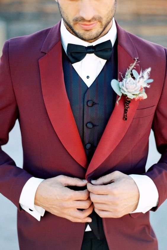 11 Burgundy Suits for your Wedding