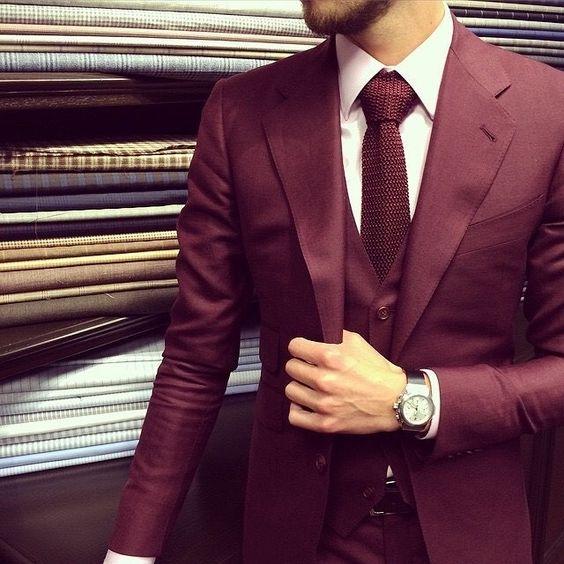 burgundy suit style