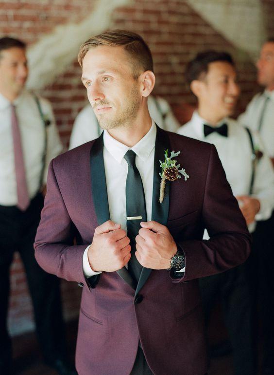 burgundy tux groom
