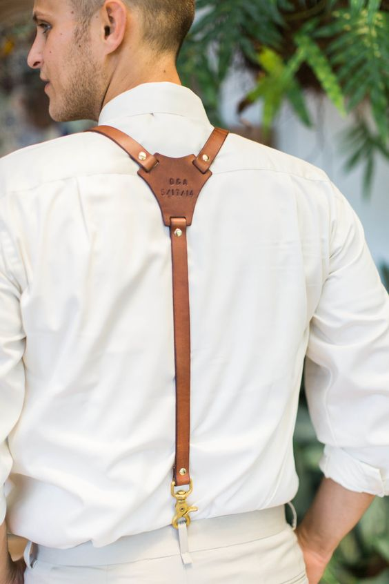 Leather suspender groom