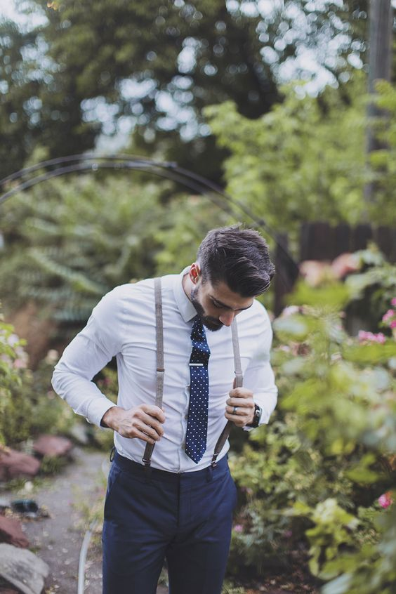 Navy Groom Suspender Styles