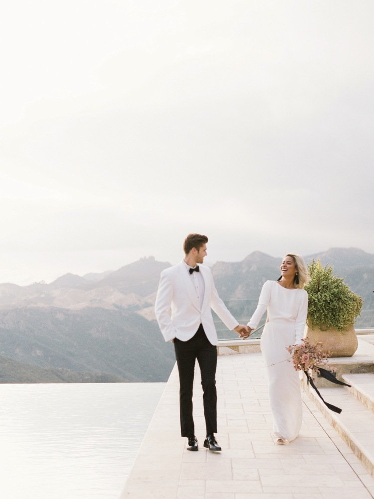 Bride and Groom in White