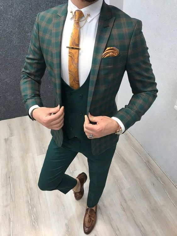 Chequered 3 Piece Green Suit