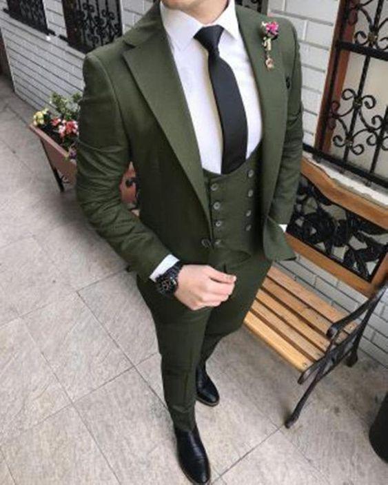 Green Men Suits Green 3 Piece Slim Fit