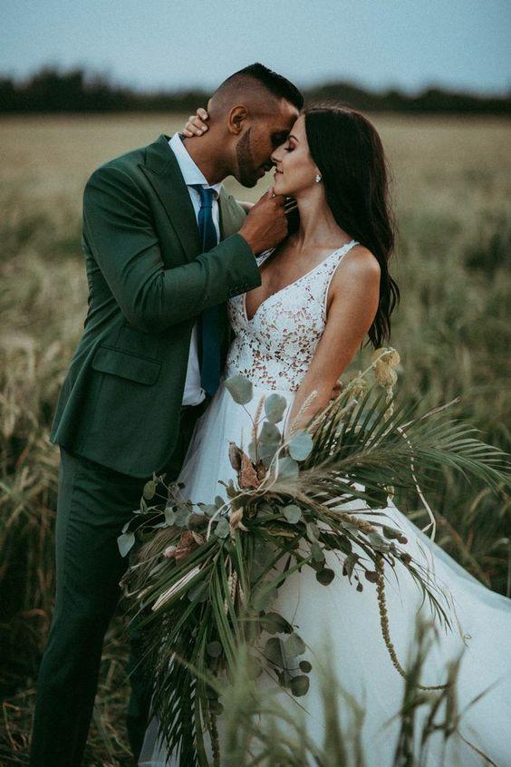 Boho Green Wedding Suit