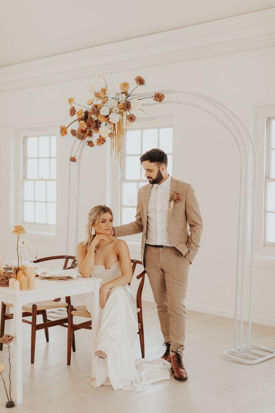 Tweed Tan Suit at a Wedding