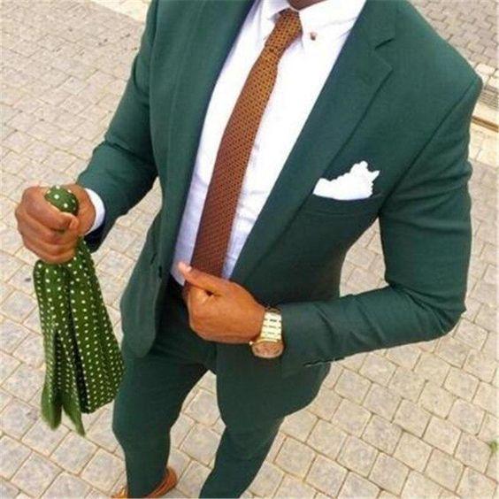 Green Suit, Brown Tie Combo