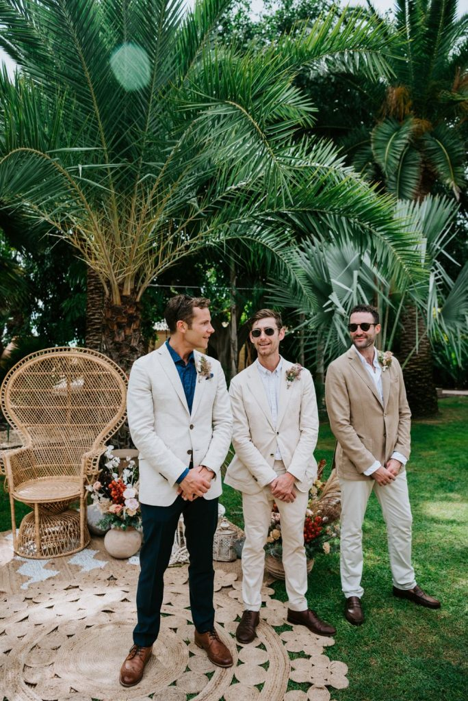 Groomsmen in Light Tan and Stone Suits