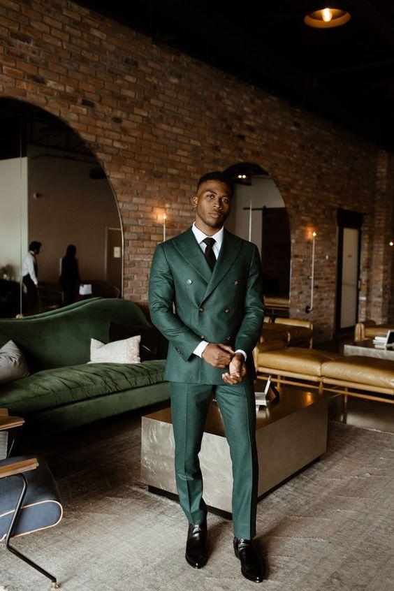 Smart Green Wedding Suit