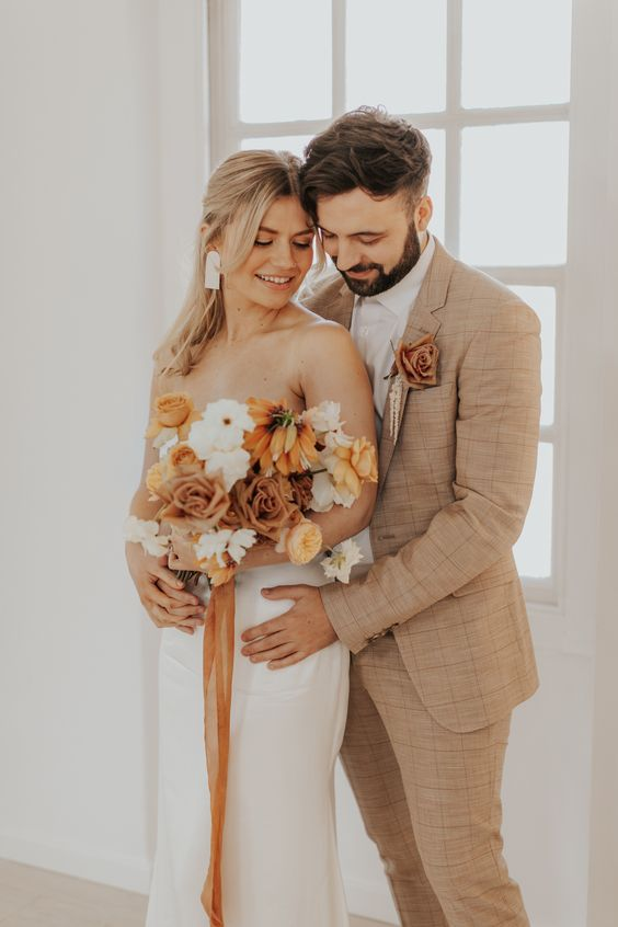 Tan Suit for the Groom