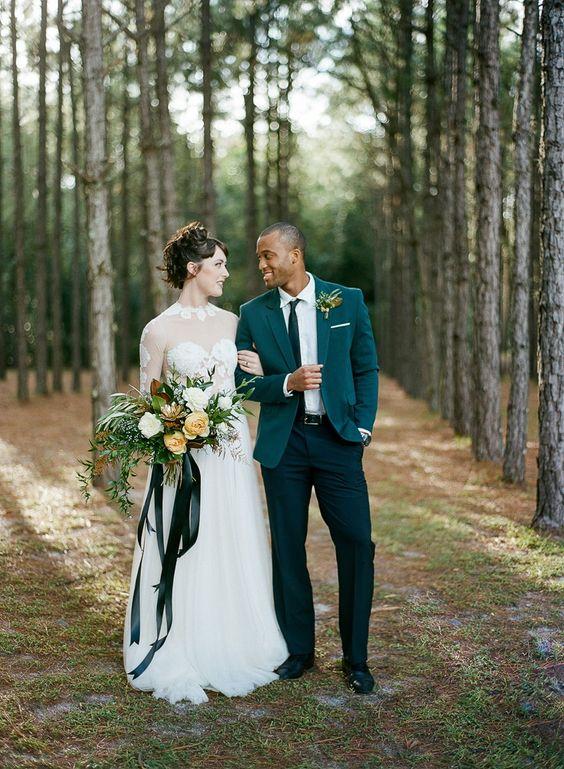 Dark Green Suit Wedding